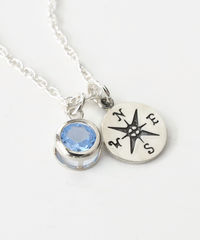 Sterling Silver Compass Necklace with March Birthstone  - product images 3 of 5