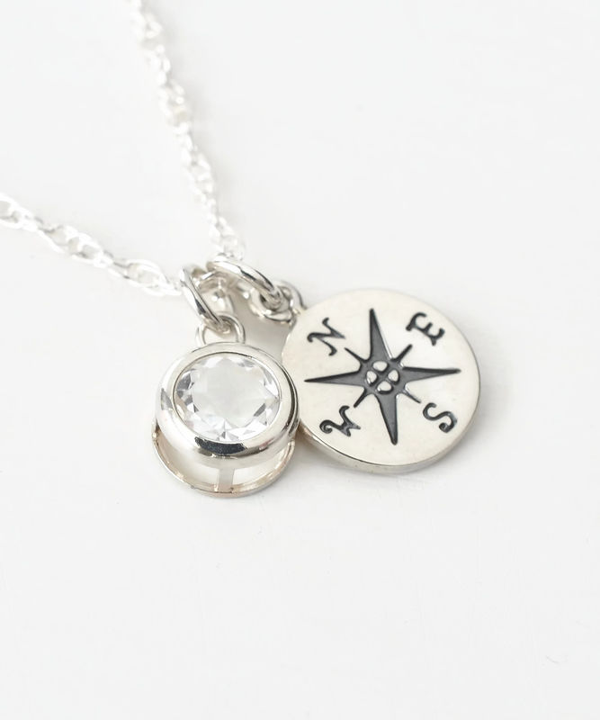 Sterling Silver Compass Necklace with April Birthstone  - product image
