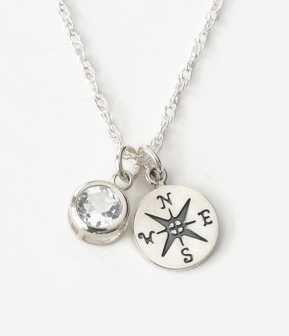 Sterling,Silver,Compass,Necklace,with,April,Birthstone,compass necklace sterling silver, compass necklace with birthstone