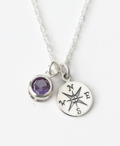 Sterling,Silver,Compass,Necklace,with,June,Birthstone,compass necklace sterling silver, compass necklace with birthstone
