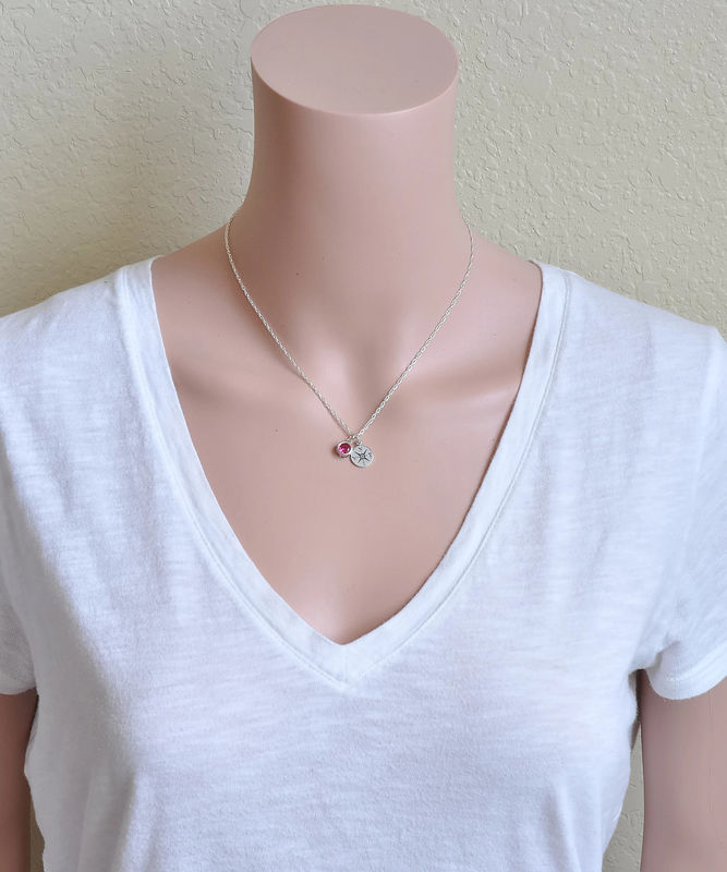 Sterling Silver Compass Necklace with July Birthstone  - product image