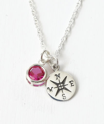 Sterling,Silver,Compass,Necklace,with,July,Birthstone,compass necklace sterling silver, compass necklace with birthstone