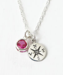 Sterling Silver Compass Necklace with July Birthstone  - product images  of