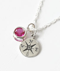 Sterling Silver Compass Necklace with July Birthstone  - product images 2 of 6
