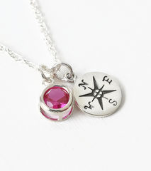 Sterling Silver Compass Necklace with July Birthstone  - product images 3 of 6