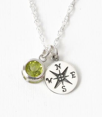 Sterling,Silver,Compass,Necklace,with,August,Birthstone,compass necklace sterling silver, compass necklace with birthstone