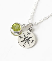 Sterling Silver Compass Necklace with August Birthstone  - product images 2 of 6