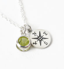 Sterling Silver Compass Necklace with August Birthstone  - product images 3 of 6