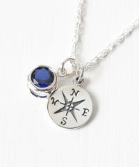 Sterling Silver Compass Necklace with September Birthstone  - product images 2 of 6
