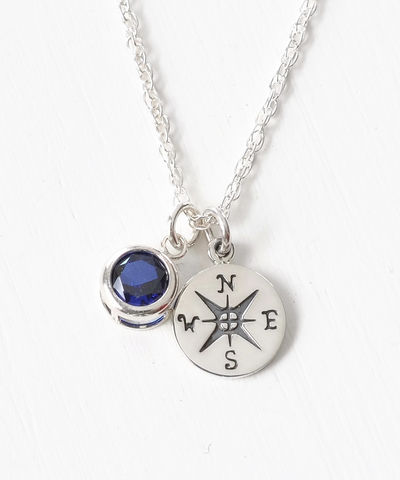 Sterling,Silver,Compass,Necklace,with,September,Birthstone,compass necklace sterling silver, compass necklace with birthstone