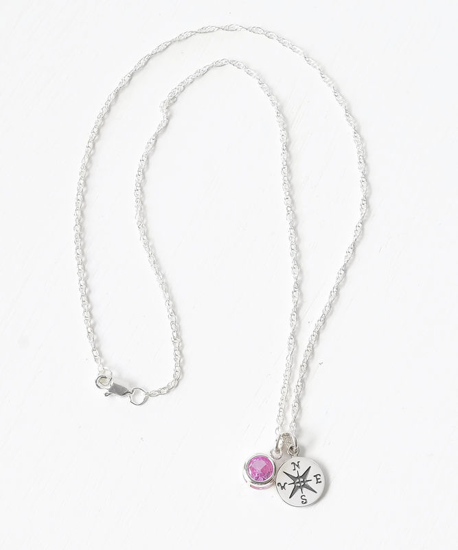 Sterling Silver Compass Necklace with October Birthstone  - product image