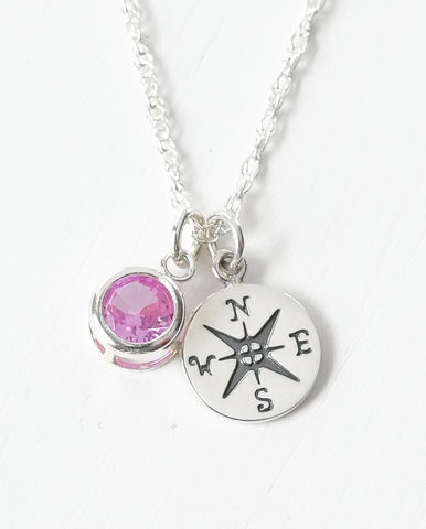 Sterling,Silver,Compass,Necklace,with,October,Birthstone,compass necklace sterling silver, compass necklace with birthstone