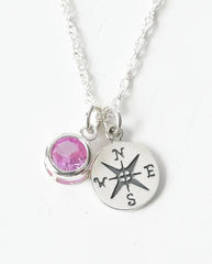 Sterling Silver Compass Necklace with October Birthstone  - product images 1 of 6