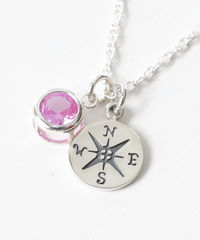 Sterling Silver Compass Necklace with October Birthstone  - product images 2 of 6