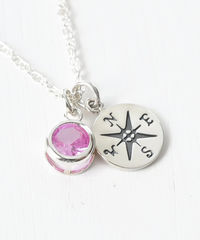 Sterling Silver Compass Necklace with October Birthstone  - product images 3 of 6