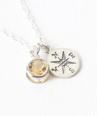 Sterling Silver Compass Necklace with November Birthstone  - product images 2 of 6
