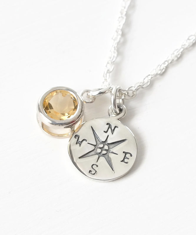 Sterling Silver Compass Necklace with November Birthstone  - product image