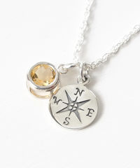 Sterling Silver Compass Necklace with November Birthstone  - product images 3 of 6