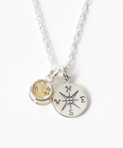 Sterling,Silver,Compass,Necklace,with,November,Birthstone,compass necklace sterling silver, compass necklace with birthstone