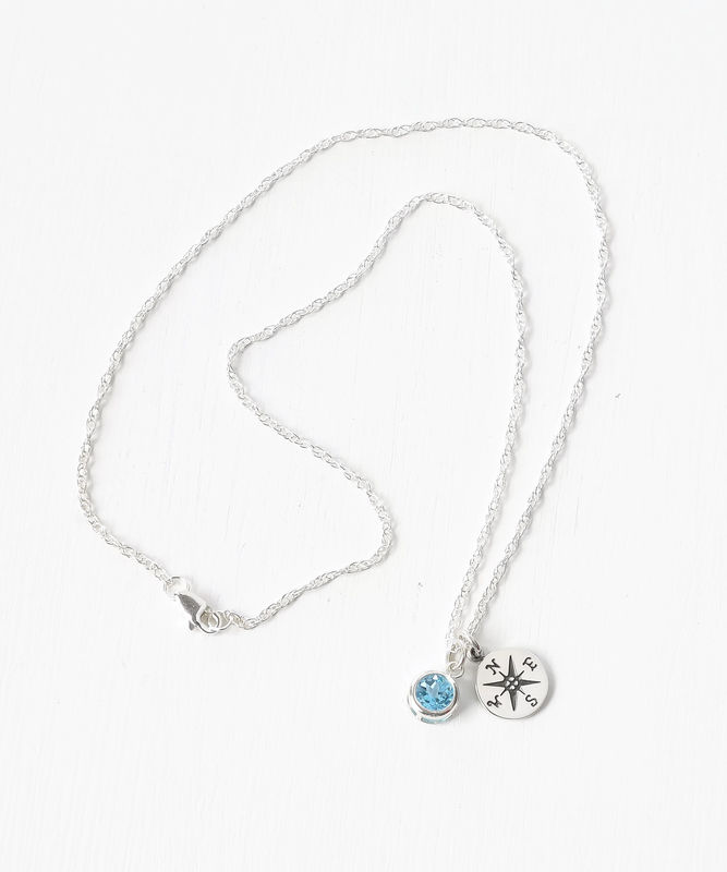 Sterling Silver Compass Necklace with December Birthstone  - product image