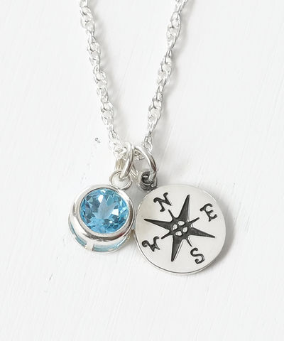 Sterling,Silver,Compass,Necklace,with,December,Birthstone,compass necklace sterling silver, compass necklace with birthstone