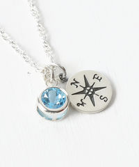 Sterling Silver Compass Necklace with December Birthstone  - product images 3 of 6
