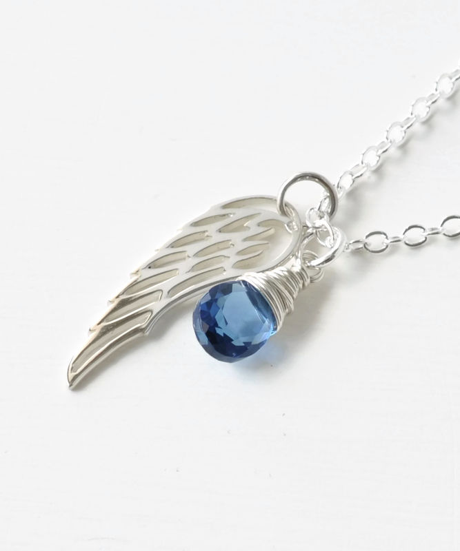 Silver Angel Wing Miscarriage Memorial Necklace with September Birthstone - product image