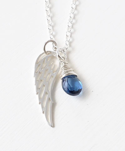 Silver,Angel,Wing,Miscarriage,Memorial,Necklace,with,September,Birthstone,miscarriage necklace forget-me-not, miscarriage memorial jewelry, miscarriage necklace with birthstone