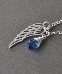 Silver Angel Wing Miscarriage Memorial Necklace with September Birthstone - product images 7 of 8