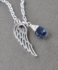 Silver Angel Wing Miscarriage Memorial Necklace with September Birthstone - product images 8 of 8