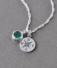 Sterling Silver Compass Necklace with May Birthstone  - product images 4 of 8