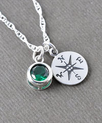 Sterling Silver Compass Necklace with May Birthstone  - product images 5 of 8