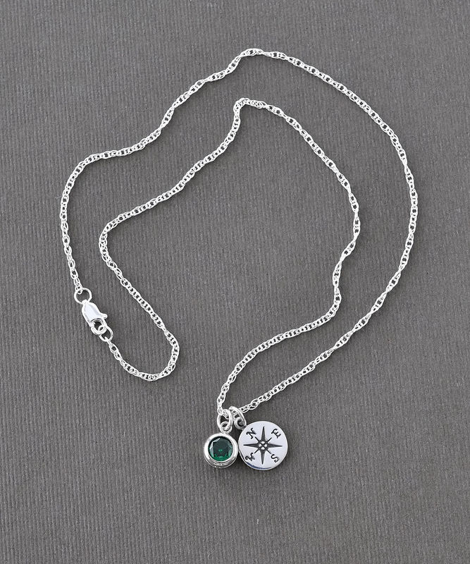 Sterling Silver Compass Necklace with May Birthstone  - product image