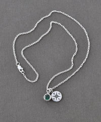 Sterling Silver Compass Necklace with May Birthstone  - product images 6 of 8