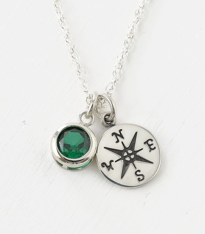 Sterling,Silver,Compass,Necklace,with,May,Birthstone,compass necklace sterling silver, compass necklace with birthstone