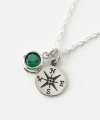 Sterling Silver Compass Necklace with May Birthstone  - product images 2 of 8