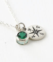 Sterling Silver Compass Necklace with May Birthstone  - product images 3 of 8