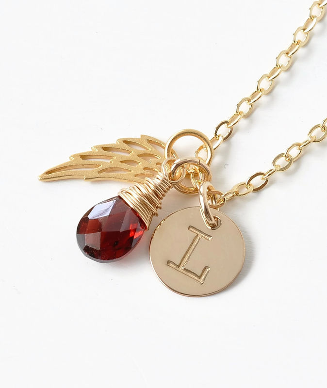 Personalized Infant Loss Necklace with January Birthstone and Initial Charm - product image