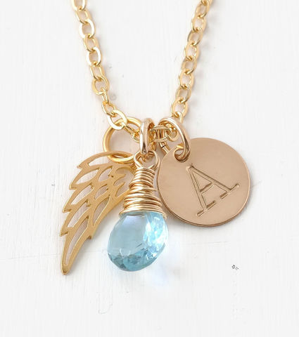 Personalized,Infant,Loss,Necklace,with,March,Birthstone,and,Initial,infant loss memorial jewelry, infant loss necklace, personalized infant loss gifts