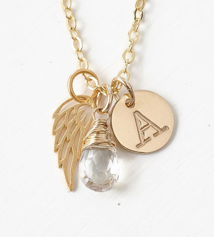 Personalized,Infant,Loss,Necklace,with,April,Birthstone,and,Initial,infant loss necklace with birthstone and initial, personalized infant loss jewelry