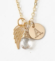 Personalized Infant Loss Necklace with April Birthstone and Initial - product images 1 of 9