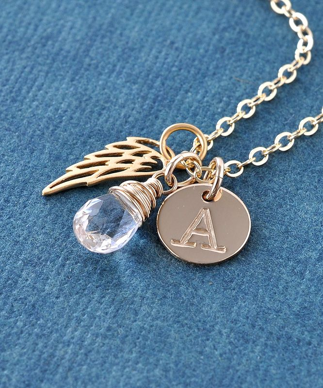 Personalized Infant Loss Necklace with April Birthstone and Initial - product image