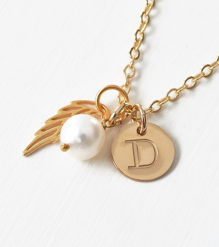 Personalized Infant Loss Necklace with June Birthstone and Initial Charm - product image