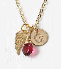 Personalized Infant Loss Necklace with July Birthstone and Initial - product images 1 of 10