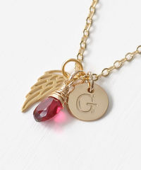 Personalized Infant Loss Necklace with July Birthstone and Initial - product images 3 of 10
