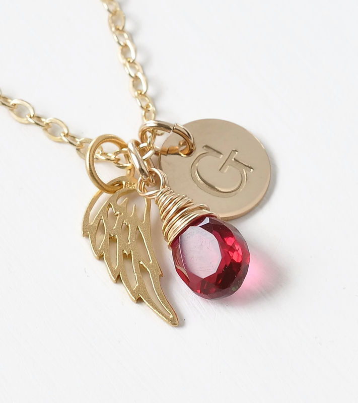 Personalized Infant Loss Necklace with July Birthstone and Initial - product image