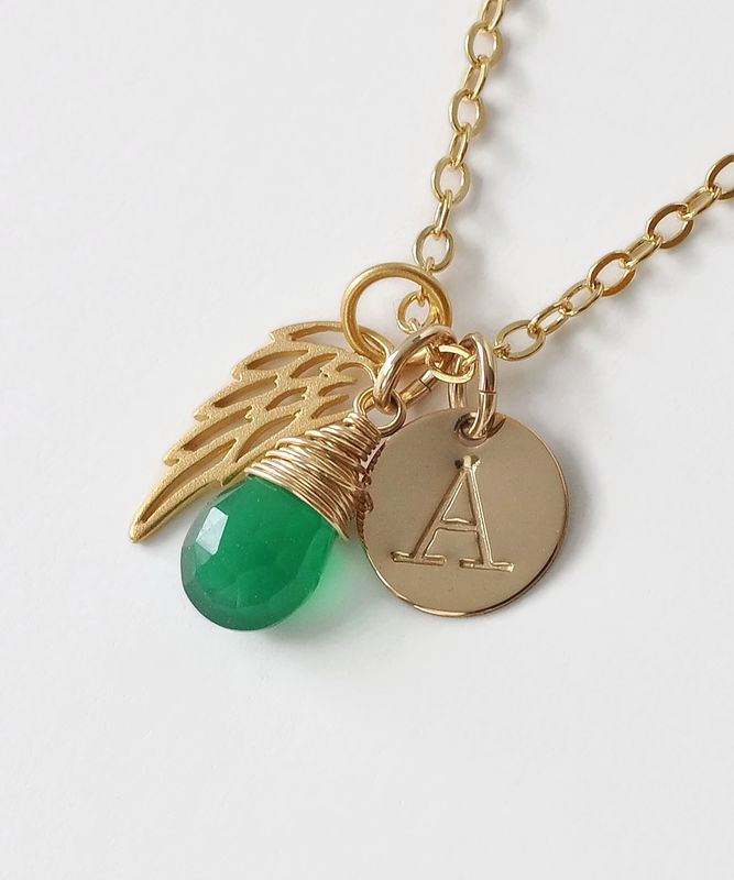 Personalized Infant Loss Necklace with May Birthstone and Initial - product image