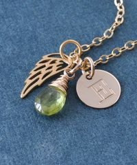 Personalized Infant Loss Necklace with August Birthstone and Initial - product images 5 of 10