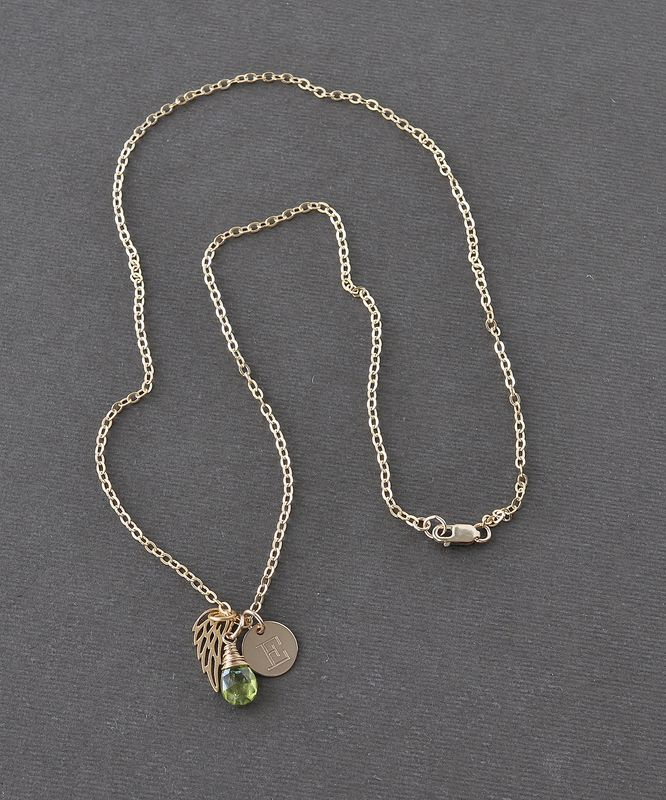 Personalized Infant Loss Necklace with August Birthstone and Initial - product image