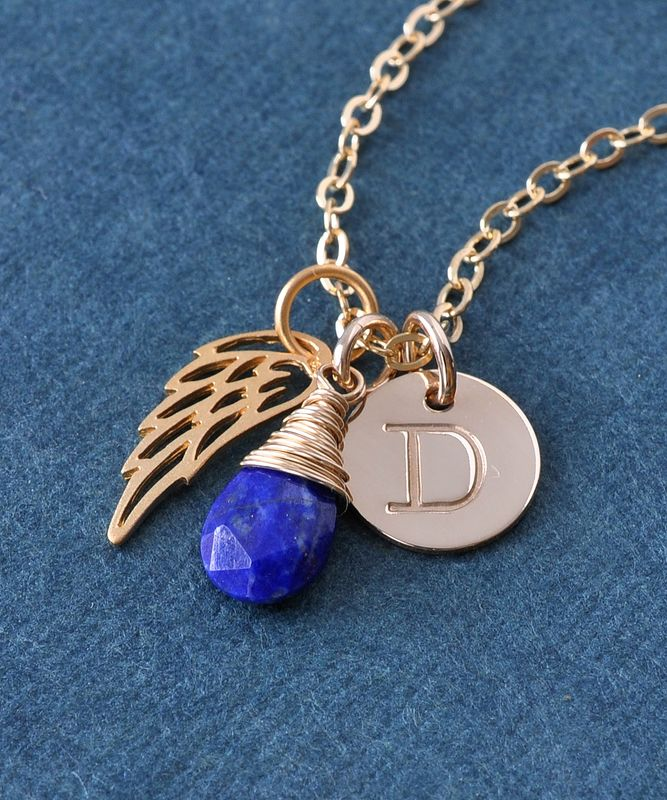 Personalized Stillborn Baby Necklace with September Birthstone  - product image